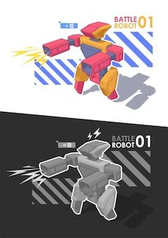 Guerriero robot. robot da battaglia con blaster o mitragliatrice