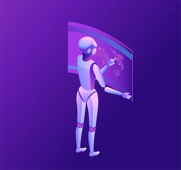 Robot che guarda la terra, illustrazione vettoriale 3d isometrico, modello di tecnologia intelligente, icona del globo incandescente, sistema di trasporto di gestione dell'intelligenza artificiale