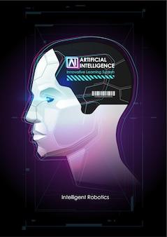 Robot con intelligenza artificiale che lavora con interfaccia virtuale. grandi dati. concetto di intelligenza artificiale. fronte del robot. mente cibernetica. concetto di sfondo tecnologico.