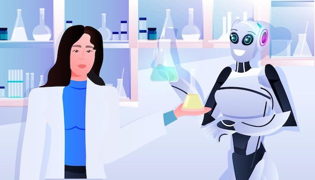Robot con scienziata che fa esperimenti chimici in laboratorio di ingegneria genetica concetto di intelligenza artificiale ritratto orizzontale horizontal