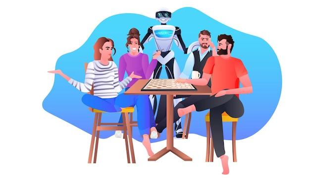 Robot con persone che giocano a scacchi concetto di tecnologia di intelligenza artificiale