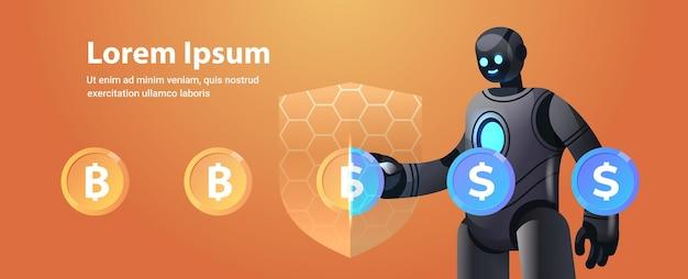 Robot con scudo di protezione scambia dollaro con bitcoin criptovaluta moneta elettronica risparmio finanziario assicurazione intelligenza artificiale