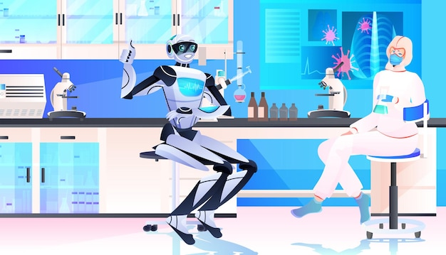 Robot con scienziato in tuta protettiva che fa esperimenti nel concetto di intelligenza artificiale di ingegneria genetica di laboratorio