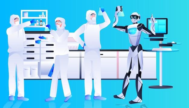 Robot con scienziati in tute protettive che fanno esperimenti in laboratorio di ingegneria genetica concetto di intelligenza artificiale orizzontale a tutta lunghezza