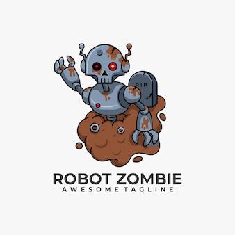 Robot zombie logo design illustrazione