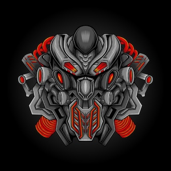 Illustrazione vettoriale di opera d'arte aliena robotica