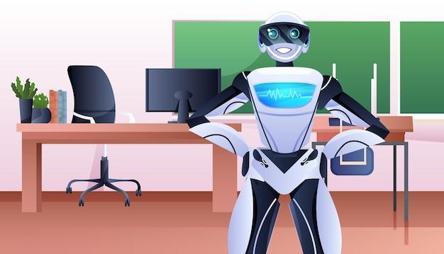 Uomo d'affari robotico in piedi nel concetto di tecnologia di intelligenza artificiale dell'ufficio