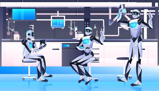 Chimici robotici che fanno esperimenti chimici in laboratorio di ingegneria genetica concetto di intelligenza artificiale laboratorio interno orizzontale a tutta lunghezza