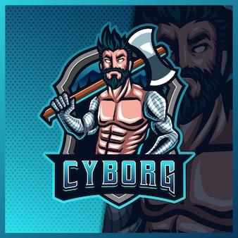Modello di illustrazioni di progettazione di logo di esportazione della mascotte di cyborg lumberjack robotico, boscaiolo arrabbiato con logo ax