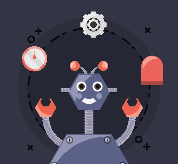 Design robotico con robot dei cartoni animati e relative icone in giro