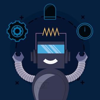 Design robot con robot dei cartoni animati e relative icone