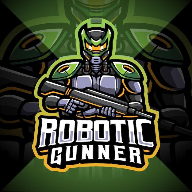 Design del logo mascotte robot esportatore di artigliere