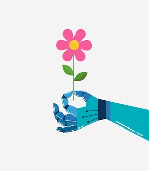 Mano robotica con un fiore, sfondo vettoriale, banner