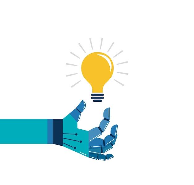 Mano robotica con una lampadina, un'idea e un concetto di innovazione