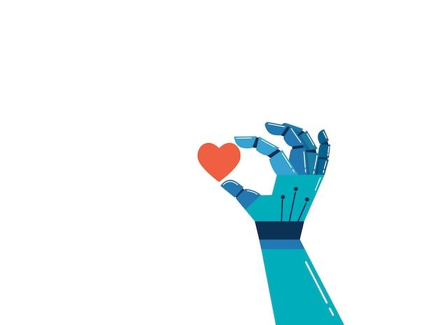 Mano robotica con un cuore rosso, priorità bassa di concetto di intelligenza emotiva