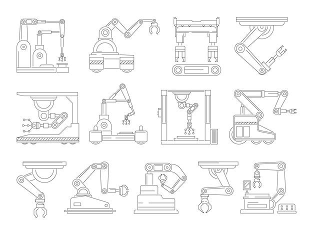 Macchine robotiche per la produzione. set di immagini in linea mono. mano industriale meccanica della macchina, illustrazione di produzione di tecnologia tecnica lineare