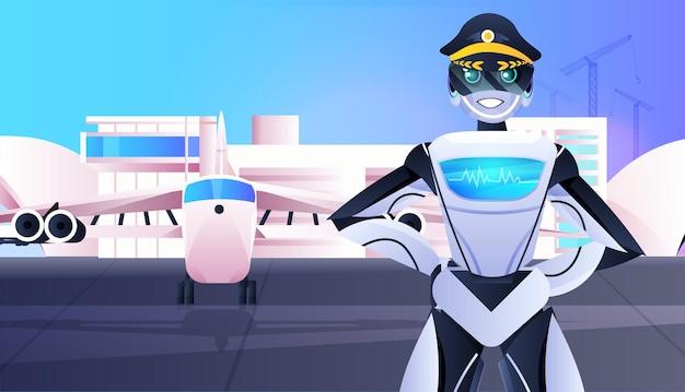 Pilota robotico in uniforme capitano robot vicino al concetto di tecnologia di intelligenza artificiale dell'aviazione aereo