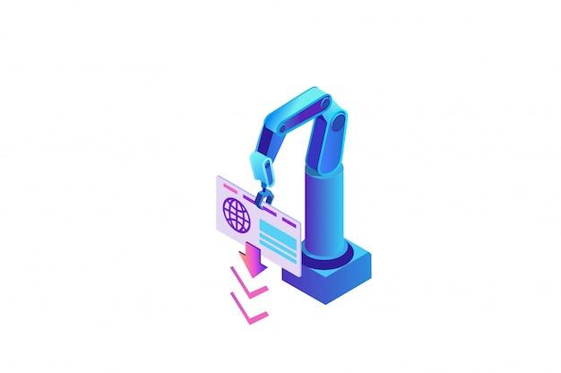 Automazione robotica dei processi con braccio robotico che estrae i dati dal sito web
