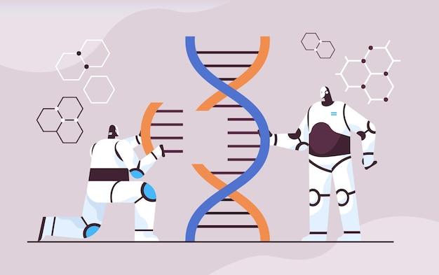 Scienziati robotici che lavorano con robot del dna ricercatori che fanno esperimenti in laboratorio test del dna diagnosi genetica intelligenza artificiale