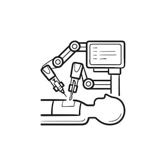 Icona di doodle di contorno disegnato a mano di chirurgia robotica. chirurgo robot, moderne tecnologie mediche, concetto di innovazione
