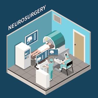 Concetto isometrico di chirurgia robotica con illustrazione di simboli di neurochirurgia medica