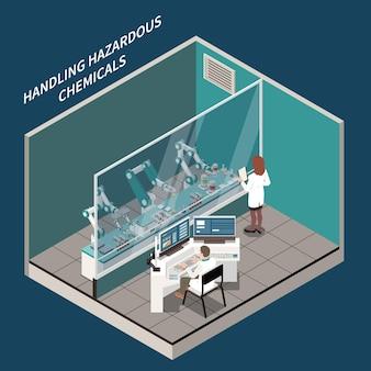 Chirurgia robotica e concetto isometrico di medicina con illustrazione di simboli di prodotti chimici di manipolazione