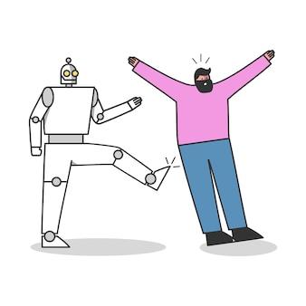 Il lavoratore robotico dà dei calci al professionista umano. persone contro il concetto di concorrenza di robot