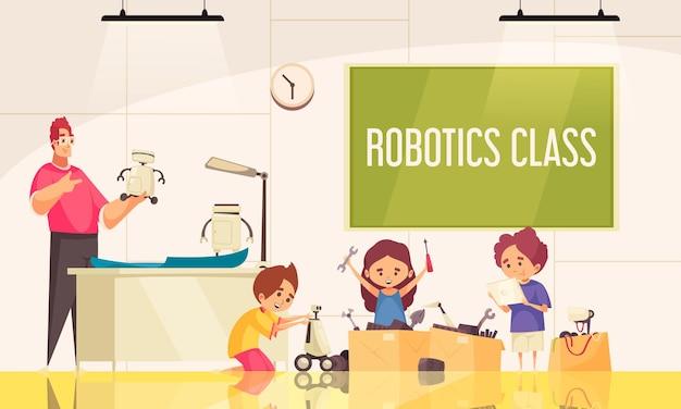 Lezione di robotica con bambini piccoli che creano giocattoli robotici sotto la guida dell'insegnante