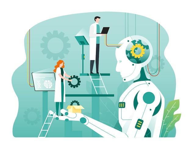 Ingegneri robotici che creano robot umanoidi nel laboratorio di scienze