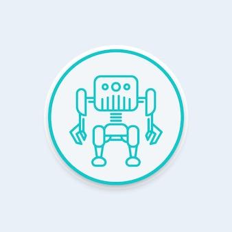 Robotica, icona della linea del robot, pittogramma rotondo