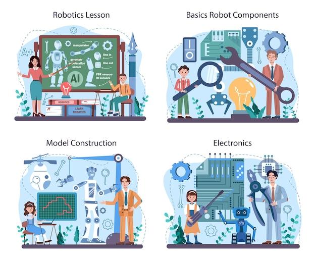 Insieme di concetti di materia scolastica di robotica. studenti che imparano i componenti dei robot
