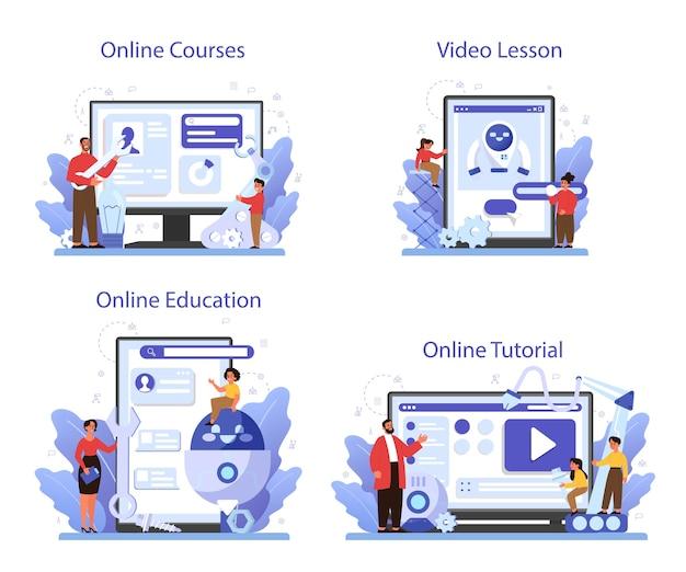 Servizio online di materia scolastica di robotica o set di piattaforme. ingegneria e programmazione dei robot. corso online, tutorial, video lezione, educazione.