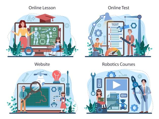 Servizio online di materie scolastiche di robotica o set di piattaforme. studenti che imparano
