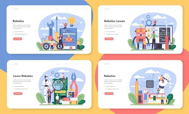 Set di banner web o pagina di destinazione della scuola di robotica