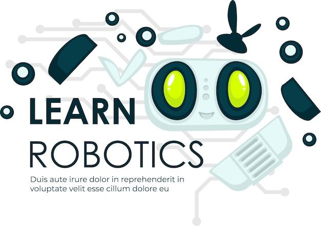 Sfera della robotica, campo scientifico della conoscenza, apprendimento della disciplina. ingegneria e produzione, modellazione di androidi e robot, automazione cibernetica e dello spazio virtuale. vettore in stile piatto illustrazione