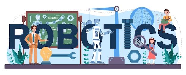 Intestazione tipografica di robotica. materie scolastiche sulle tecnologie dell'intelligenza artificiale