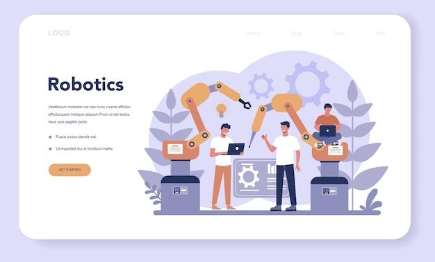 Pagina di destinazione web di robotica. ingegneria e programmazione dei robot. idea di intelligenza artificiale e tecnologia futuristica. automazione della macchina. illustrazione vettoriale isolato in stile cartone animato