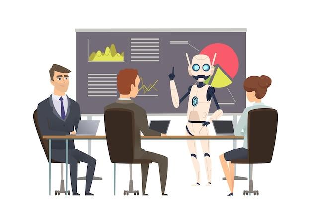 Robotizzazione. il robot fa la presentazione alla formazione aziendale. illustrazione di allenatori e manager android.
