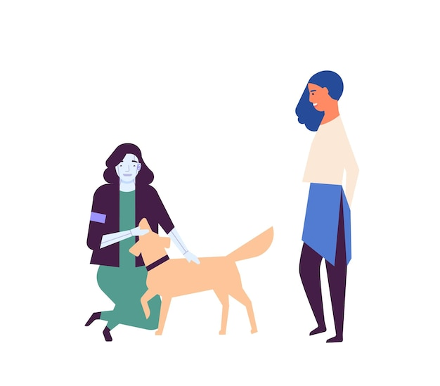 Illustrazione piana di vettore del cane da passeggio dell'assistente robotizzato. robot nella vita umana quotidiana. aiutante di intelligenza artificiale che gioca con l'animale domestico. donna e umanoide insieme personaggi dei cartoni animati isolati su bianco.