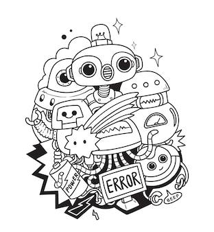 Robot doodle arte