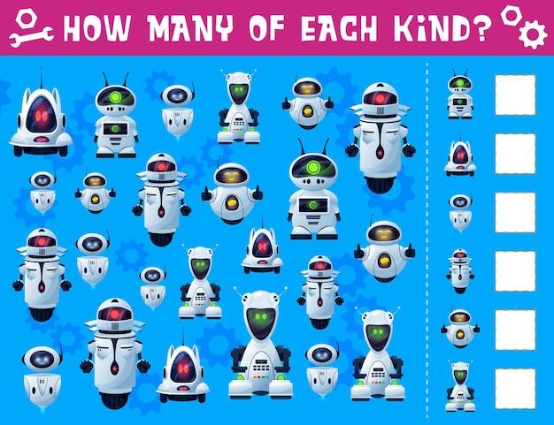 Gioco di spionaggio per bambini di robot e droidi. indovinello per bambini, puzzle di conteggio o pagina del libro di quiz
