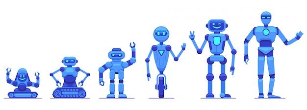 Evoluzione dei robot. progresso della tecnologia di robotica, caratteri futuristici del robot meccanico, icone dell'illustrazione di evoluzione di tecnologia dei robot messe. evoluzione futuristica del robot, intelligenza cyborg
