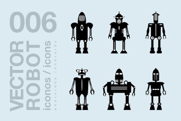 Robot icone piatte 001 set di sagome di robot vettoriali
