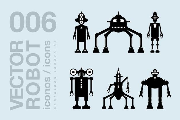 Robot icone piatte 002 set di sagome di robot vettoriali