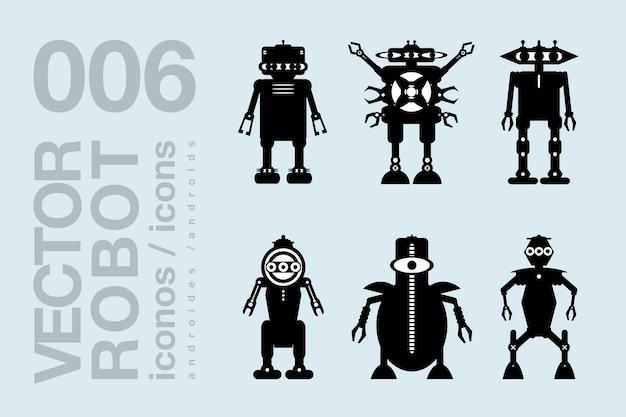 Icone piane di robot 003 set di sagome di robot vettoriali