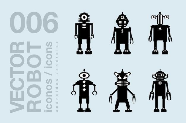 Icone piane di robot 004 set di sagome di robot vettoriali
