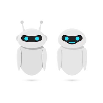 Robot isolati su sfondo bianco. progettazione di bot.