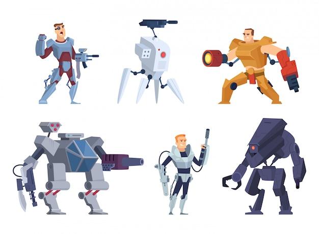 Guerrieri robot. personaggi in esoscheletro brutale futuro soldati tecnologia android con pistole mascotte dei cartoni animati di vettore