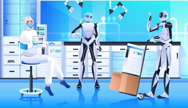 Robot con scienziato in tuta protettiva che fanno esperimenti in laboratorio di ingegneria genetica concetto di intelligenza artificiale orizzontale a tutta lunghezza