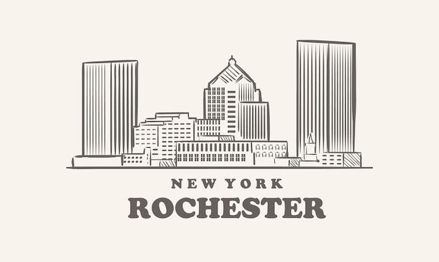 Skyline di rochester, città di stati uniti d'america schizzo disegnato di new york